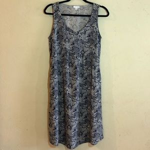 J. Jill 100% rayon sleeveless dress blue/white GUC